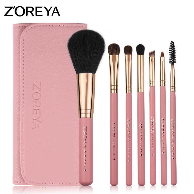 ZOREYA Make Up Pinsel 7tlg Ponyhaar Kosmetik Set Mit Ledertasche Als Fashion Woman Basic Make Up Pinsel Set