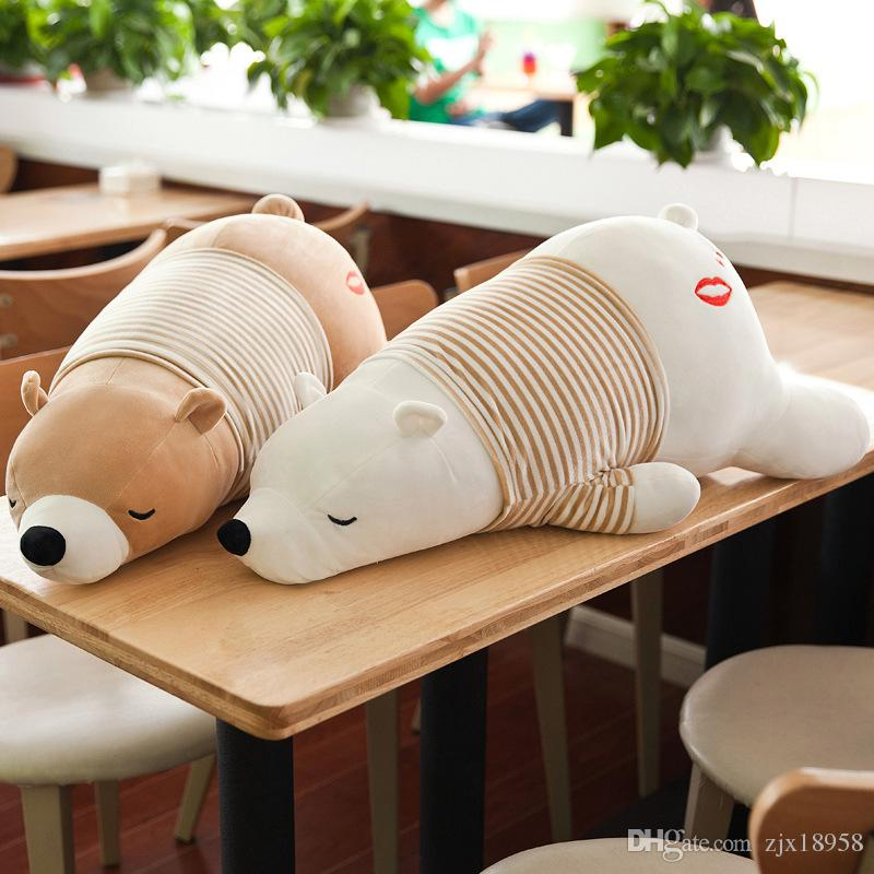 Very good Lovely Special price large polar bear plush toys short plush prone bear cute creative Plush Doll birthday gift
