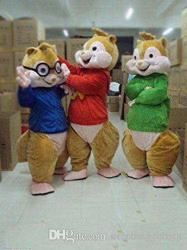 2018 High quality Alvin and the Chipmunks Mascot Costume Chipmunks Cospaly Cartoon Character adult Halloween party costume Carnival Costume