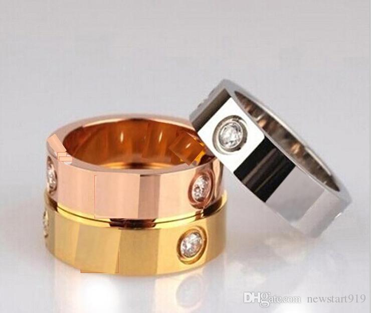 anillo de oro del anillo del amor del oro color de rosa de la plata titanium para los amantes anillo de los pares