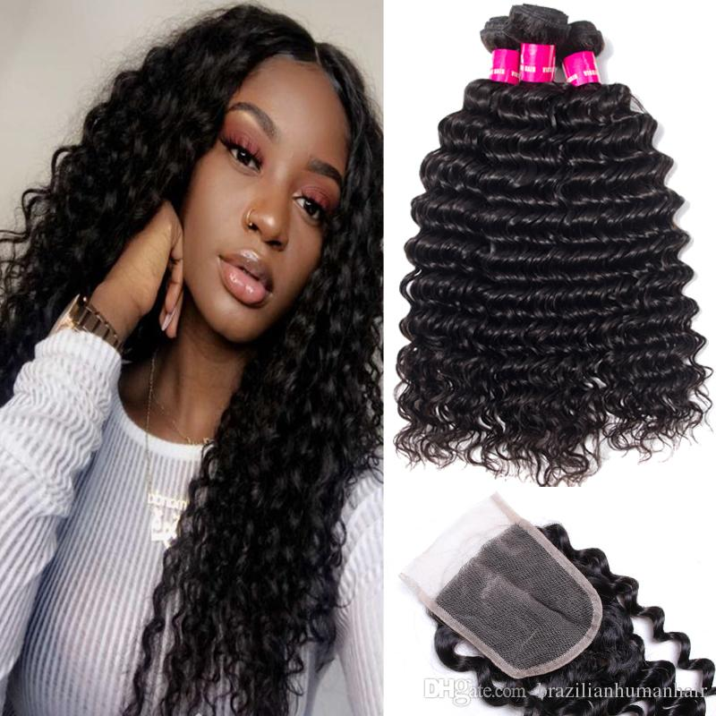 9A Brazilian Human Hair Weaves 3 Bundles With 4x4 Lace Closure Straight Body Wave Loose Wave Deep Wave Kinky Curly Hair Wefts With Closure