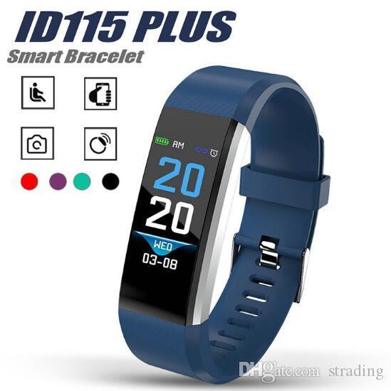 Pantalla LCD 115 ID115 Plus inteligente de presión pulsera rastreador de ejercicios reloj podómetro banda de frecuencia cardíaca de sangre cajas al por menor Smart Monitor Muñequera