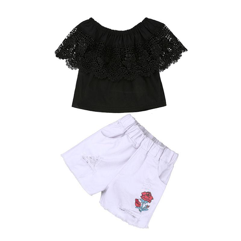 Denim Shorts 1-8T Maglietta Senza Maniche Letters Top