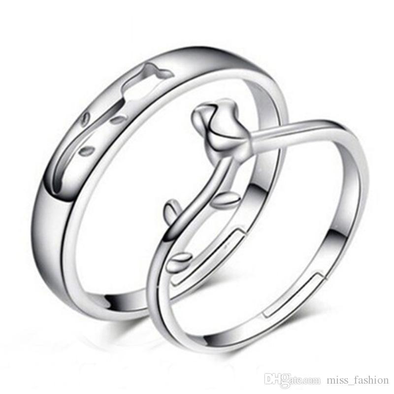 حلقات أزياء سحر خاتم زوجين خمر أجوف روز زهرة خاتم قابل للتعديل 925 الفضة الاسترليني المجوهرات