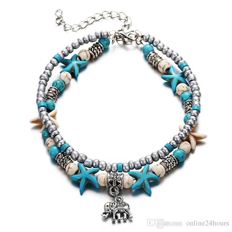 Kadınlar Için yaz Halhal Zincirler Püskül Halhal Çift Katmanlı Etnik Kız Bohemian Fil turkuaz Baykuş Kalp Halhal Takı Mavi Renk