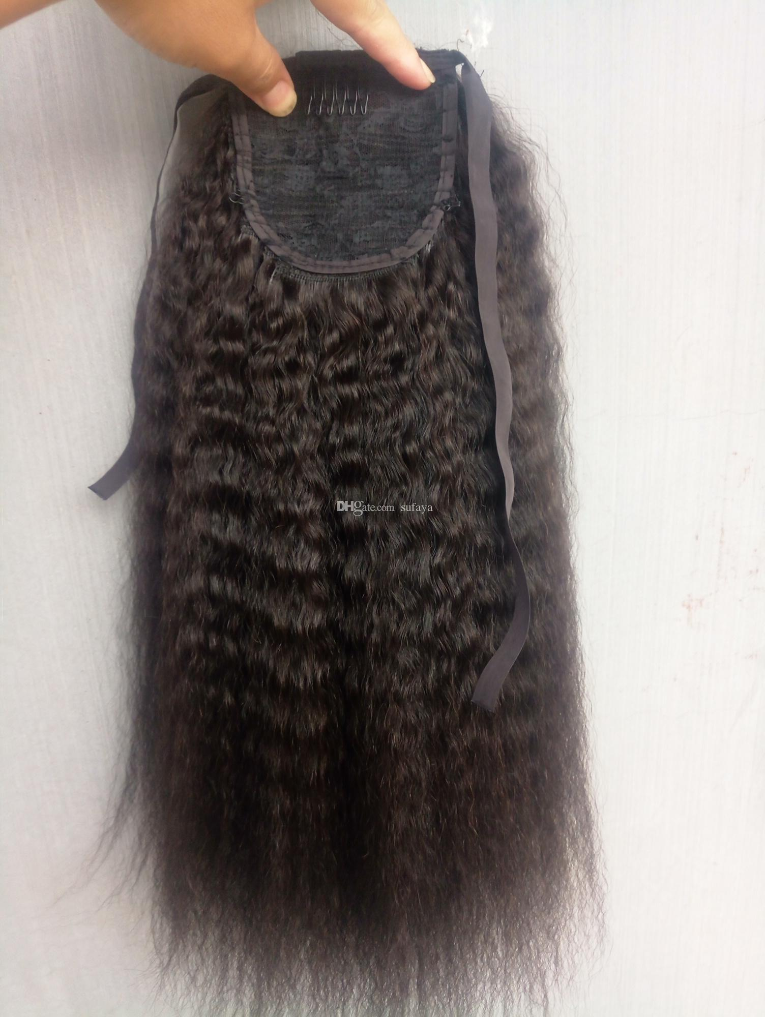 Sufaya Full Head Brazilian Human Virgin Remy Kinky Straight Drawstring Ponytail Hair Extensions Natral Black Color 1b Color 150g one bundle
