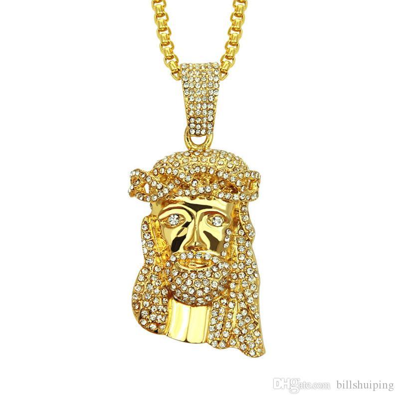 Hot New Arrivel Hip Hop Christ Gold Plated Jesus Head Charm Pendant Religious Catholic Jesus Face Piece Necklaces Jewelry