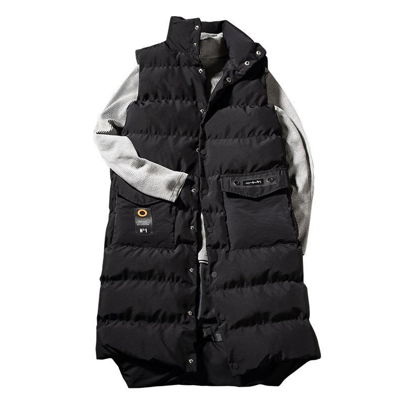 Épais Chaud Hiver X-Long Parkas Gilet Hommes Style Coréen Noir Sans Manches Manteau Manteau Couple Gilet Sur Le Genou Mâle Long Gilets