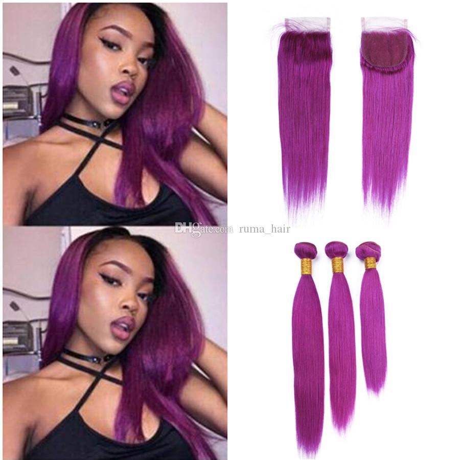 New Arrive Color Purple Hair Extension With Lace Closure Silk Straight Human Hair Bundles 3Pcs With 4x4 Lace Closure For Sale