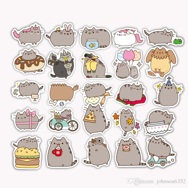 100 Pieces/lot Cartoon Lovely Cat Cute Stickers For Tab Phone Laptop TV Fridge Bicycle Pvc Waterproof Decal Toy Fat Cat Sticker For Gifts