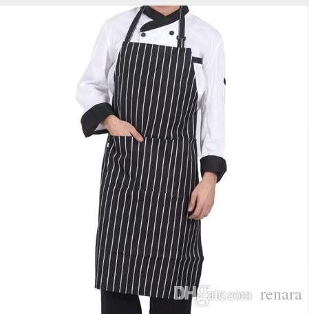 Delantales de Chef despojados con 2 bolsillos sin mangas Hombres adultos Mujeres Delantal Cocina Herramientas de cocina Baberos de poliéster a cuadros