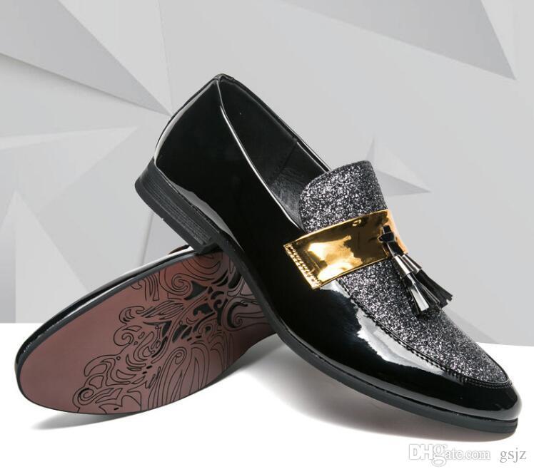 2018 nuovo stile di marca casual uomo mocassini vestito da scarpe in pelle affari scarpe da ufficio moda gregge scarpe da sposa formali S341