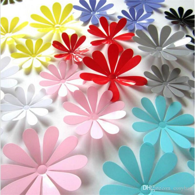 12pcs/lot PVC Colorful Flower Wall Stickers For Home Decor DIY Children Room Nursery Wall Decoration