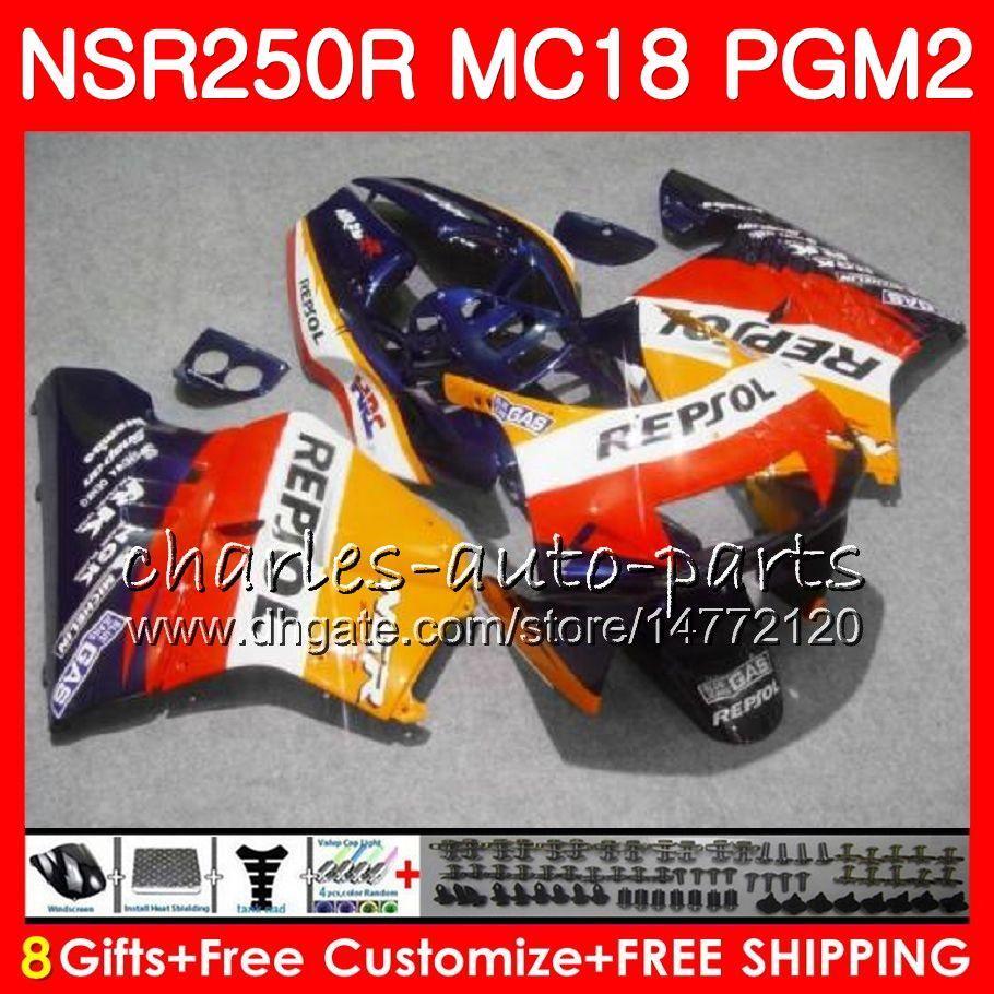 Cuerpo para HONDA NSR 250 R MC18 PGM2 NSR 250R NS250 NSR250R 88 89 78HM.36 Repsol azul MC16 NSR250 R RR NSR250RR 1988 1989 88 89 Kit de carenados