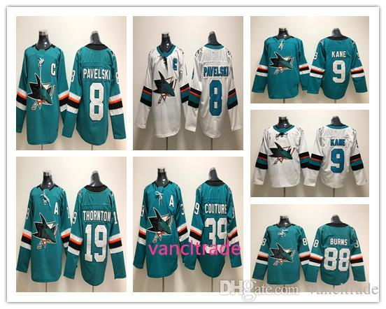 newest fac52 40c39 2019 2018 San Jose Sharks Jersey 39 Logan Couture 88 Brent Burns 8 Joe  Pavelski 9 Evander Kane 19 Joe Thornton Blank Green White Hockey Jerseys  From ...