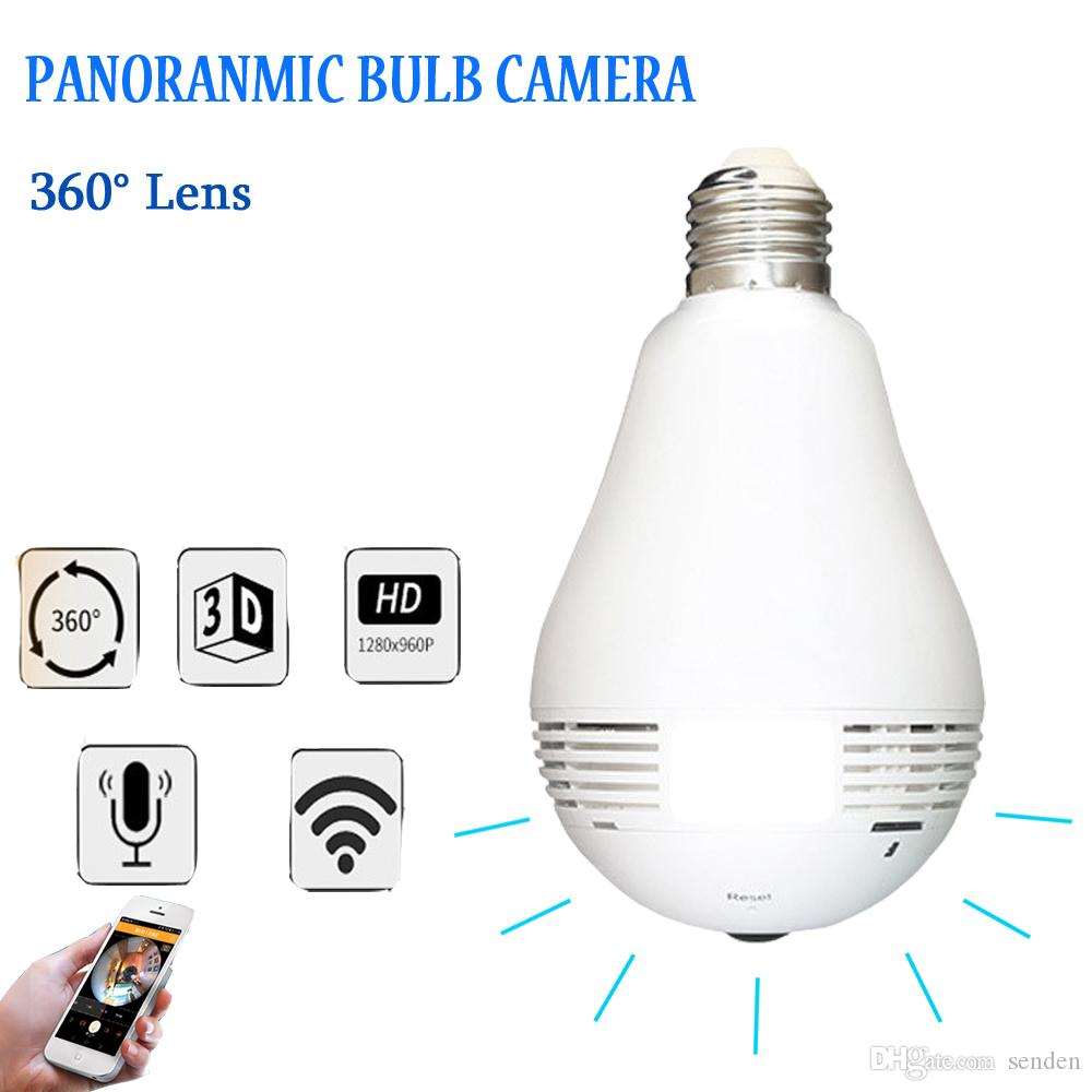 Double Drive Panoramic LED Light Bulb Security Camera 360 Degree Fisheye  Motion Detection WiFi SD Card Recording,3x 1W LED Light App Control Remote