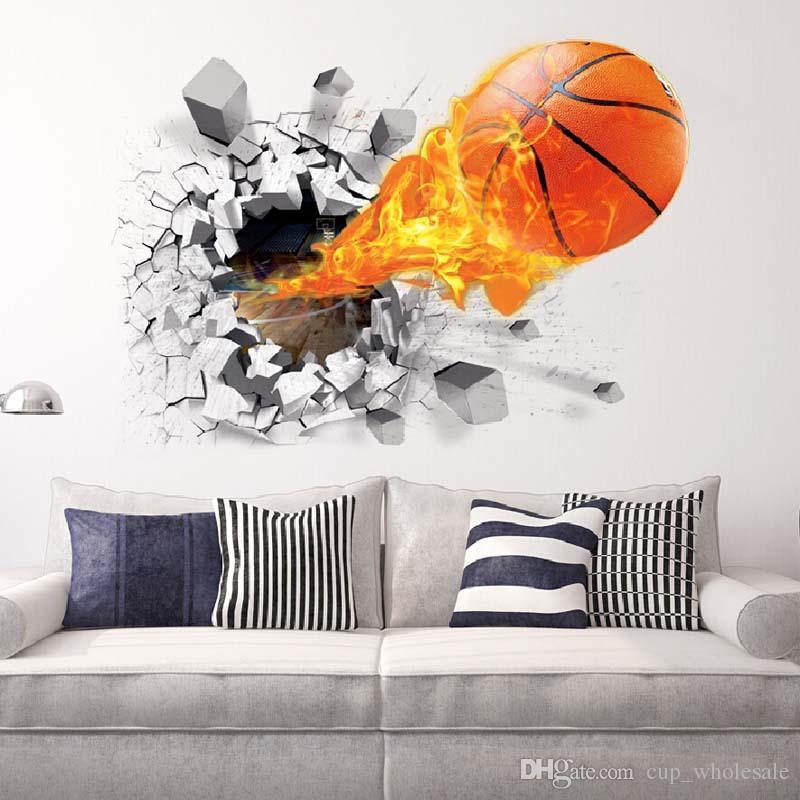 3D Autocollant Amovible Pause à travers le Mur Vol Feu Basket-Ball Vinyle Stickers Muraux Muraux Art Stickers Décorateur