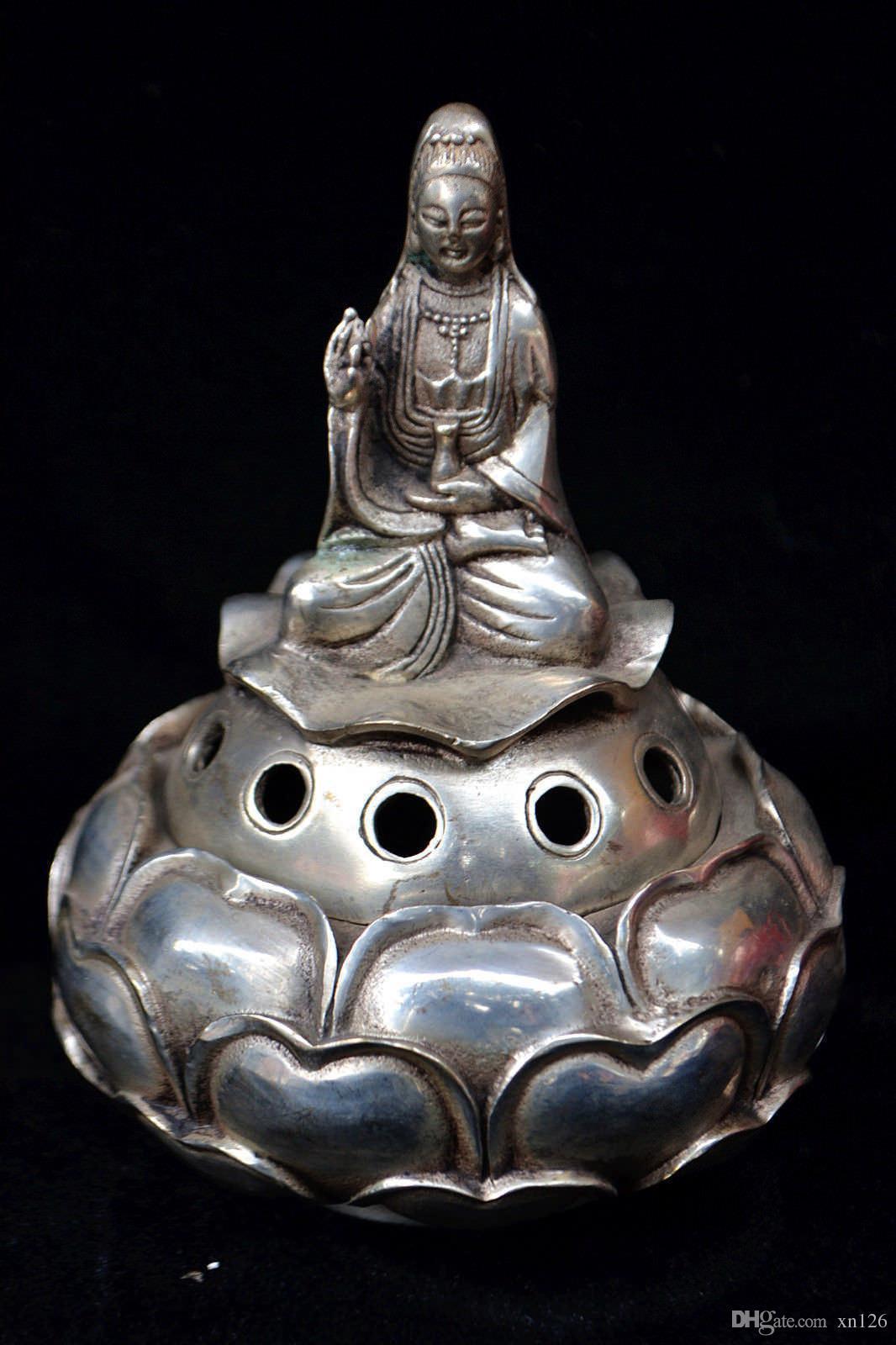 Chinesische alte Tibet Silber Kwan-Yin Lotus Dragon große Handarbeit Weihrauch-Brenner