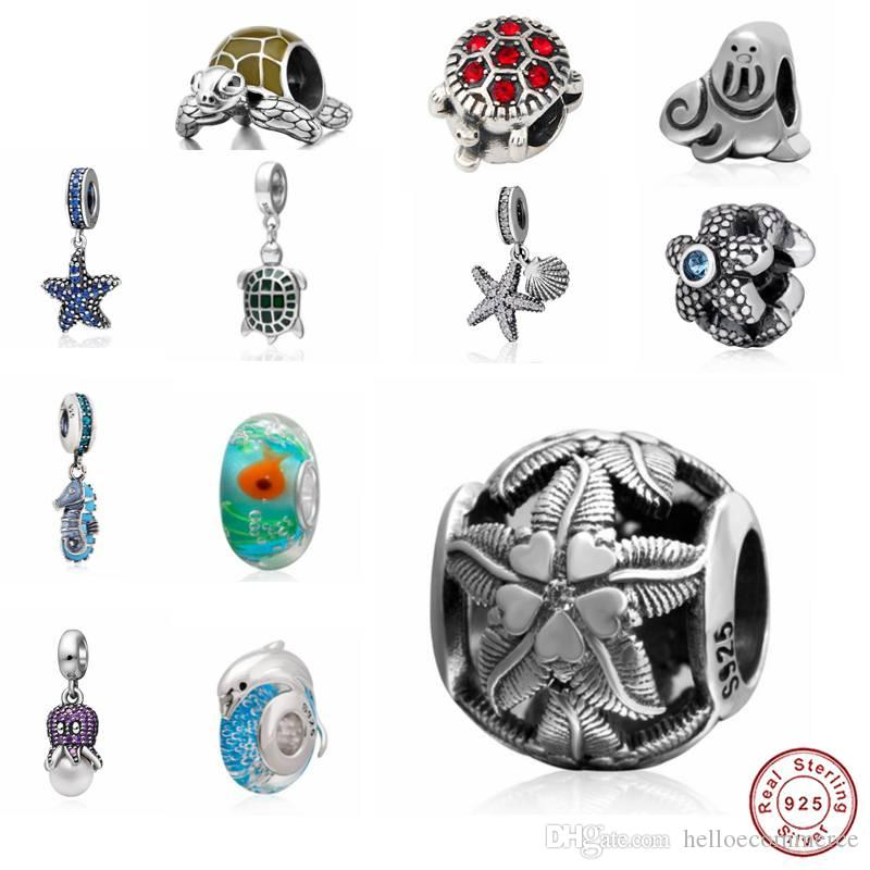 Haha Jewelry Summer Ocean Series Turtle Charm Sea starfish Beads Authentic 925 Sterling Silver Bead Gift for Pandora Charms Bracelet Making