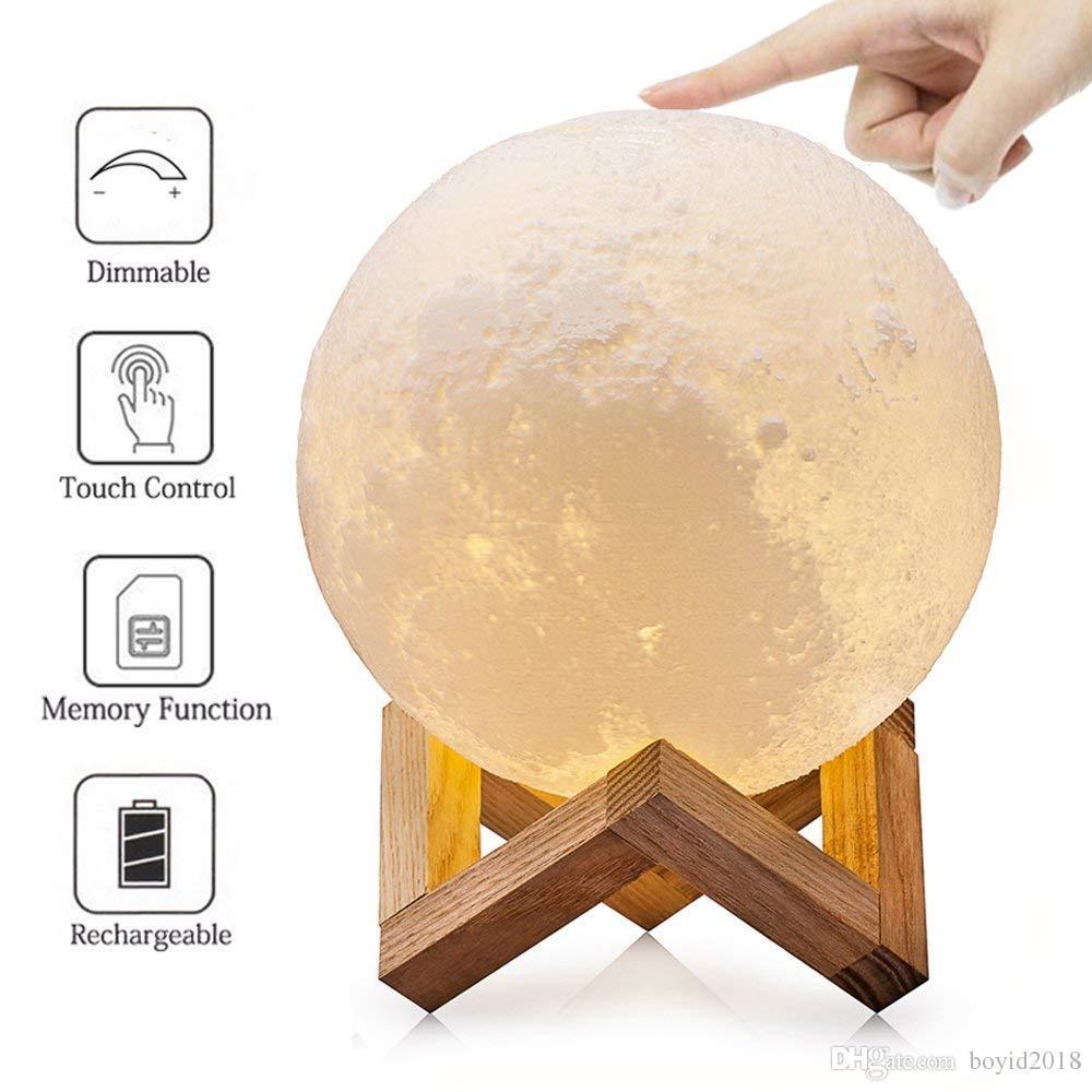 Control de la noche del sensor de luz bebé impresión en 3D de la luna de la lámpara táctil ajustable del brillo de la lámpara Mesita de noche LEDDimmable amarillo caliente blanco frío