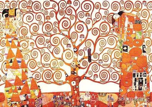 Gustav Klimt Tree of Life,Stoclet Frieze Repro High Quality Handpainted /HD Print Art Oil Painting On Canvas Multi Custom Size /Frame K19