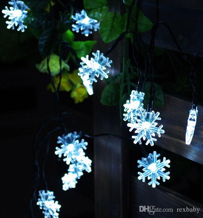 Luci di stringa solari del fiocco di neve 6m 30LED luci impermeabili dell'albero di Natale per i giardini di festa all'aperto Decorazione del cortile di festa