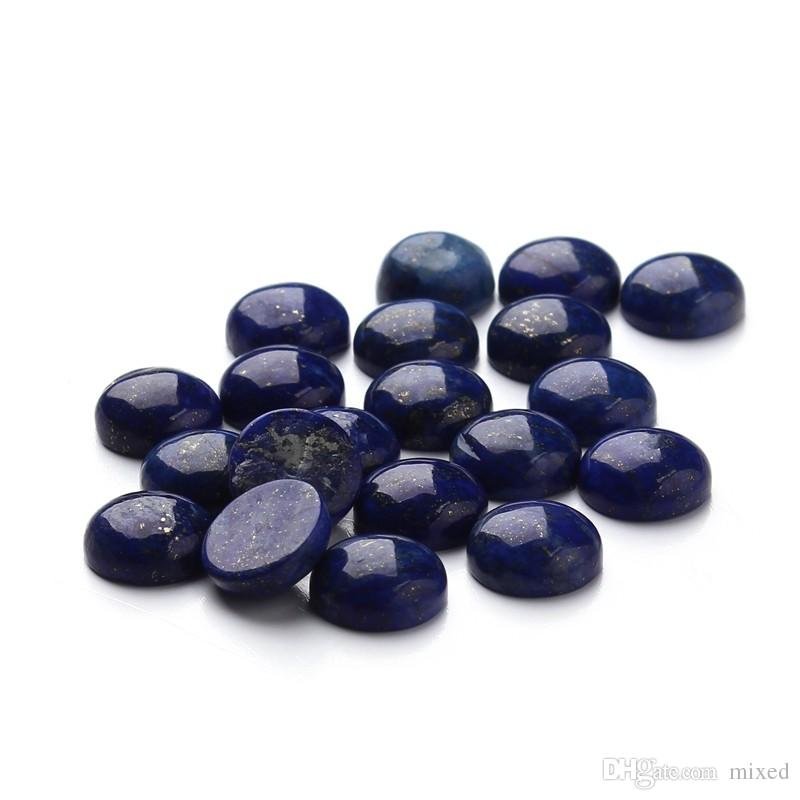 XINYAO 20pcs Natural Stone Cabochon Beads 6 8 10 12 mm Round Lapis Lazuli Agat Tiger Eyes Beads For DIY Jewelry Findings F3097