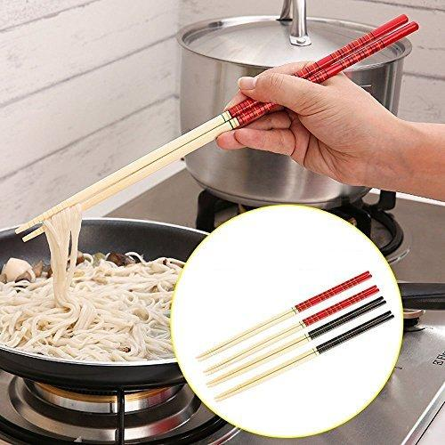 5 Pairs Mutfak Bambu Sıcak Pot Erişte Pişirme Kaymaz Çubuklarını Sofra Yemek 13 Inç