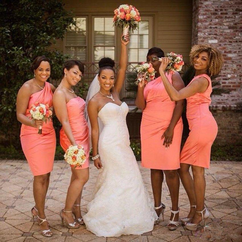 Элегантный дешевые одно плечо Тафта оболочка длиной до колен оранжевый простые платья невесты до 50
