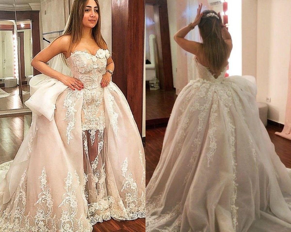 Acheter 2018 Robes De Mariee Princesse Sirene Avec Jupe Amovible Dentelle Tulle Appliques Pays Robe De Mariee Sweetheart Balayage Train Taille Plus