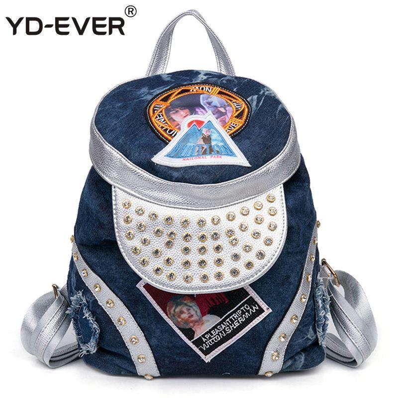 YD-EVER Denim Women Female Backpack Special Design Rivet Cartoon Print School Bagpack For Girls Students Drawstring Daypack