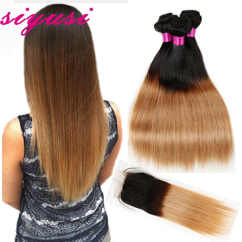 Paquetes rectos del pelo de la Virgen brasileña Ombre con los cierres Cierre del cordón rubio con los Paquetes del pelo humano de Ombre con el cierre