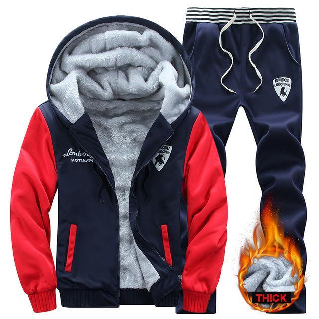 Casual Sportbekleidung Herrenanzug Wintermarke zweiteilige Baumwolle Unterwäsche Fleece mit Kapuze 2PC Jacke + Hose Sportanzug männlich