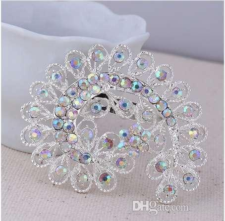 DIEZI Fashion Brooch For Wedding Silver Crystal Women Silver Peacock Brooch Jewelry Bride Bouquet Rhinestone Brooch Pins Jewelry