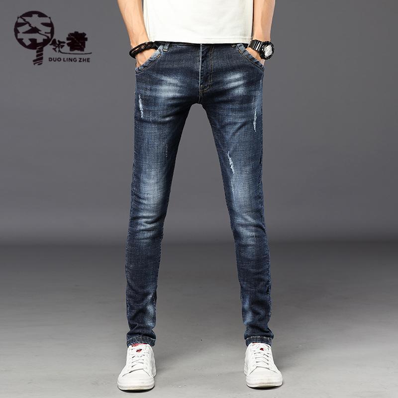2018 Invierno Nueva Moda Masculina Recta Slim Denim pantalones Blue Jeans Jeans Largos Para hombre cálido y terciopelo recto