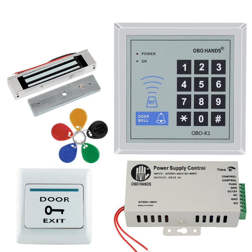 Kit de sistema de controle de acesso de porta de teclado RFID Kit de porta eletrônica eletrônica elétrica + fonte de alimentação + 5 pcs Key FOBS Full Set
