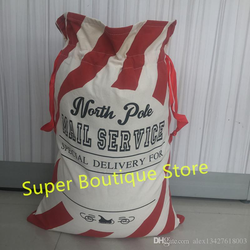 2018 newest Personalized Candy Cane Stripe Christmas Gift Sacks Santa Bags