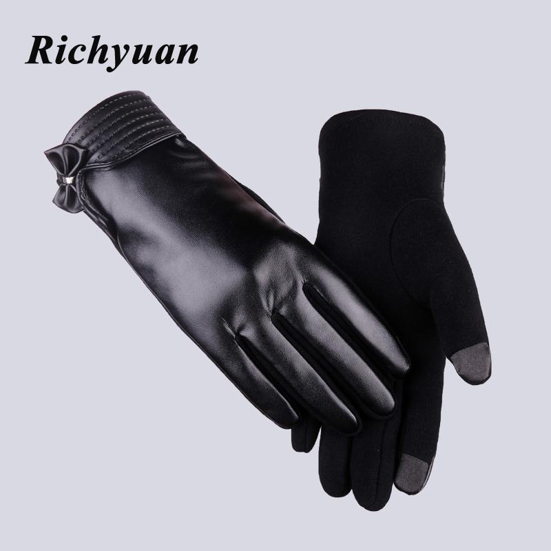 Richyuan أزياء والجلود الدانتيل القوس النساء الشتاء قفازات الإناث السيدات بنات لمس الشاشة القفازات صوف الأغنام قفاز القفاز guantes