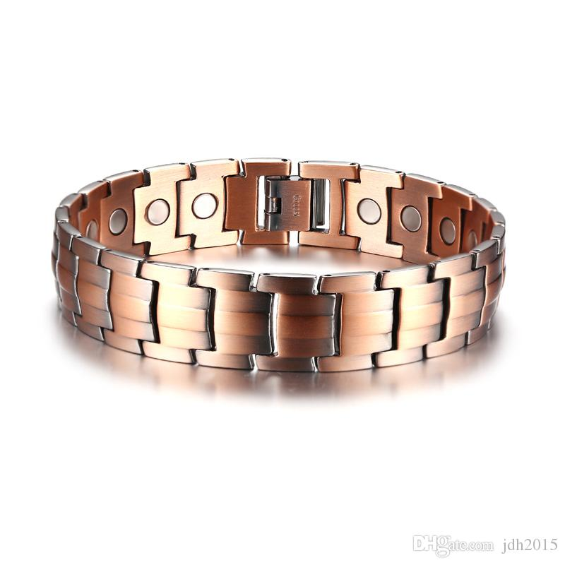 """15MM Wide Elegant Pure Copper Magnetic Therapy Bracelet For Men 8.5"""" Long"""