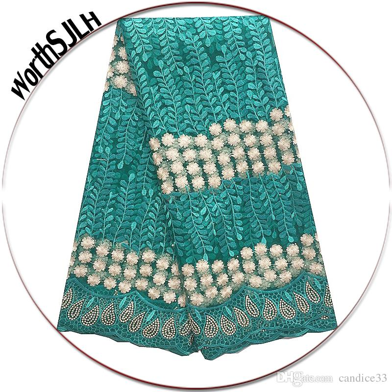 Wedding African French Lace Fabric High Quality 2018 Teal Gold Africa Lace Fabric Fushia Pink Nigerian Fabric Lace Material