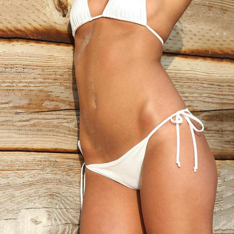 Scrunch Back Bikini Bottoms Tie Side Bikinis bottom Women s swimwear Micro  panties Brazilian bikini White shorts swimsuit 2c3f9ba3d8