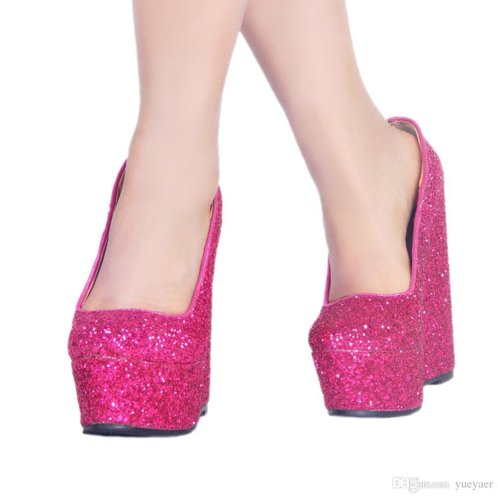 Zandina Yeni Kadın Bayanlar El Yapımı Yüksek Topuk Pompaları Nubuk Deri Platformu Slip-on Parti Balo Pompaları Yaz Wadge Topuk Ayakkabı A027