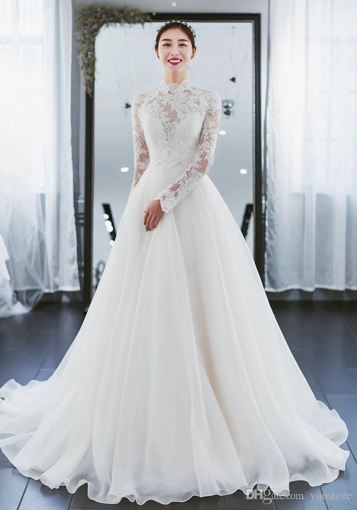 Discount Romantic French Lace Top Wedding Dresses With Lace Jacket ...