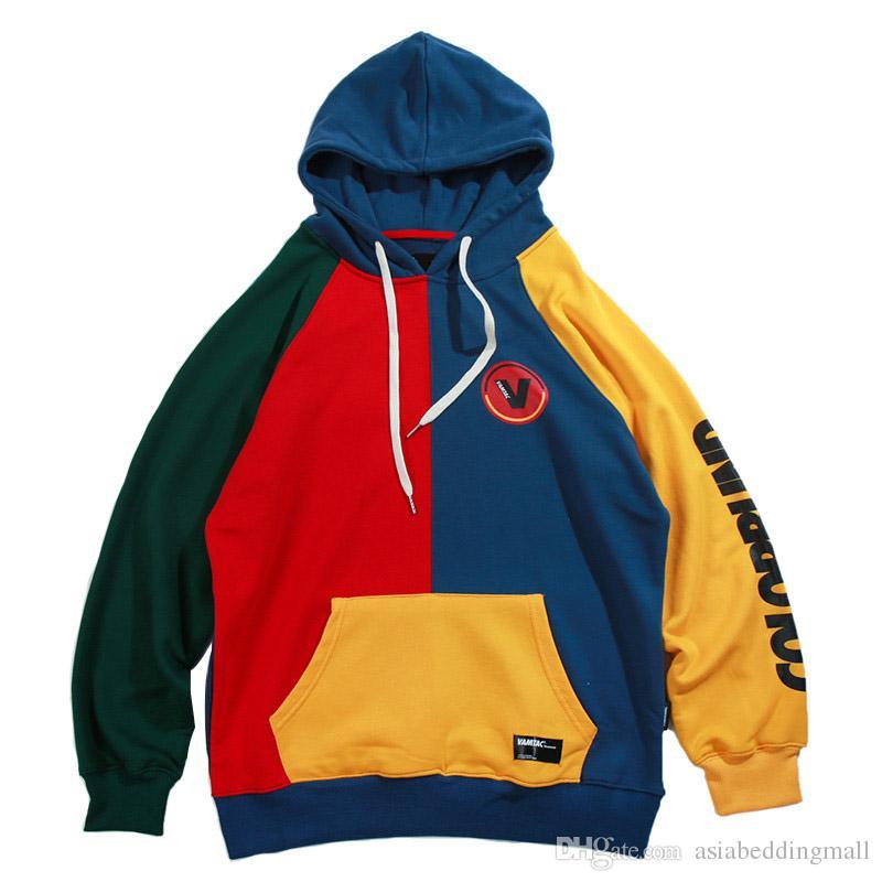 Hip Hop Hoodie Kazak Mens Renk Bloğu Patchwork Harajuku Hoodie Streetwear Casual Baggy Kazak Büyük Boy Sonbahar