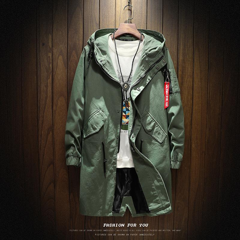 2017 Autumn man jacket male trench coat oversize hoodies trench young man high quality 100% cotton  long windbreaker l