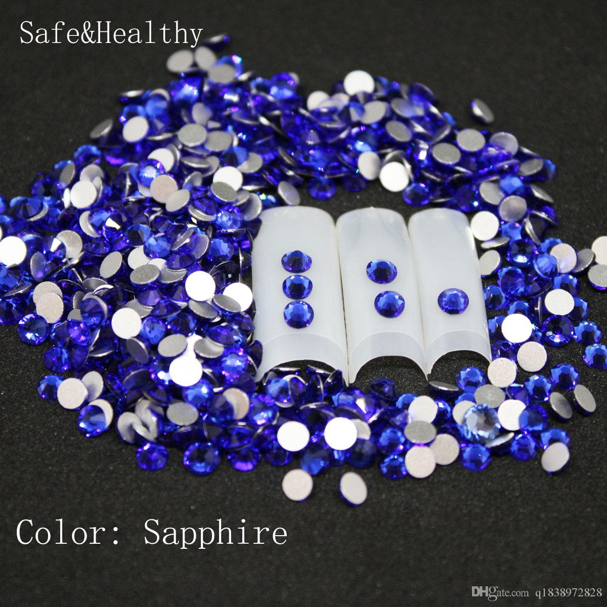 1440 pcs/Pack SS3-SS50 Sapphire Nail Art Decorations Rhinestones For 3d Charm Glass Flatback Non Hotfix DIY Nails Decorations