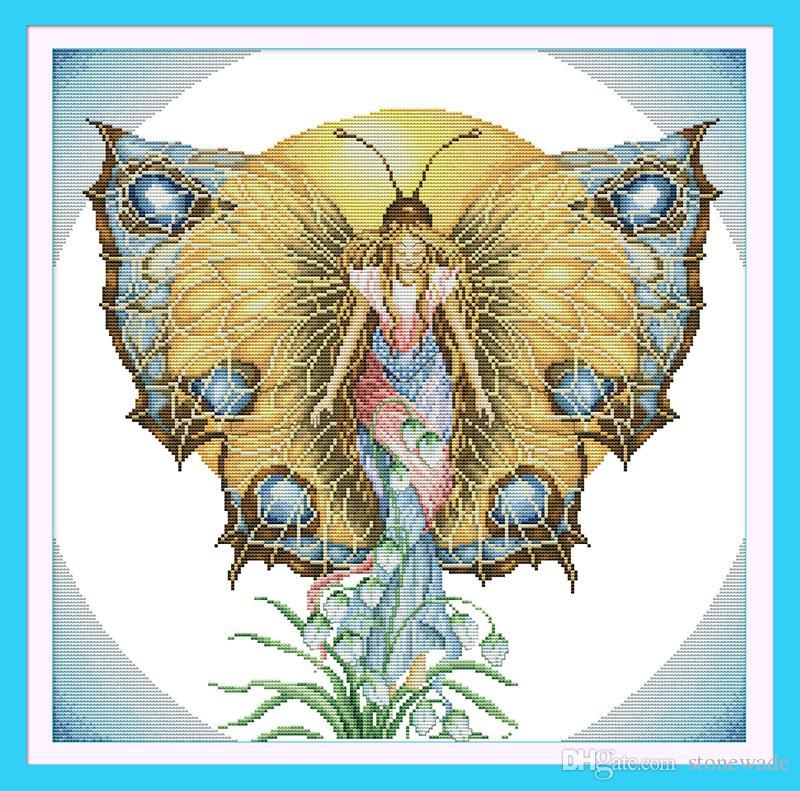 Ducha Motyl Aniołek Decor Obrazy, Handmade Cross Stitch Hafty Robótki Zestawy Liczono druku na płótnie DMC 14CT / 11CT
