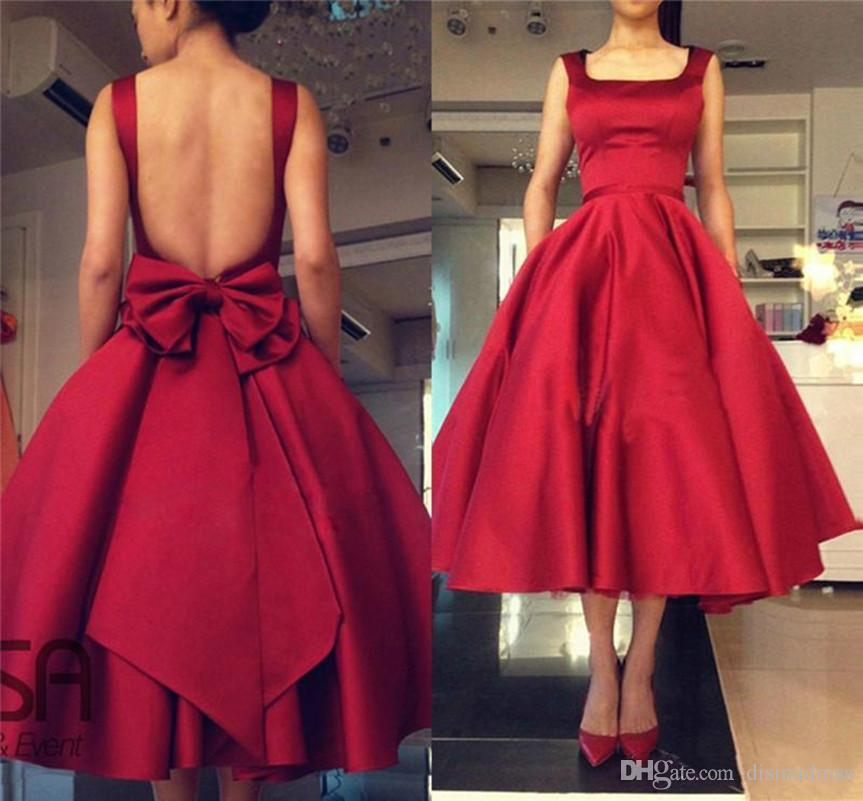 Cheap Red A Line Homecoming Dresses Sexy Backless Evening Gowns Tea Length Cocktail Gowns With Big Bow