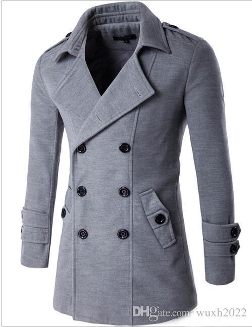Kış Erkekler Slim Fit Yün Karışımları Sonbahar Katı Marka Giyim Ceket Yün Ceket Rahat Palto Uzun Sıcak Ekose 3 Renkler