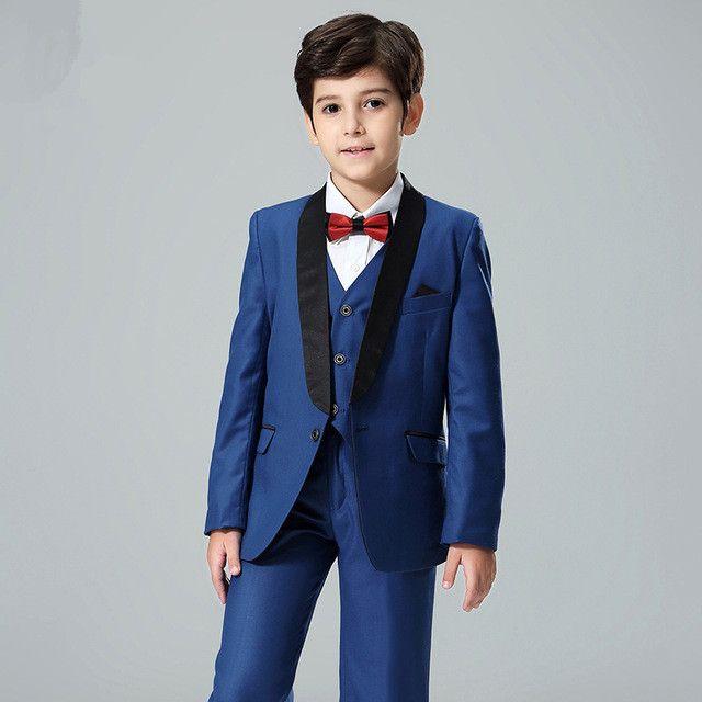 Yeni erkek takım elbise çocuk beyefendi mavi şal yaka takım elbise üç parçalı takım elbise (ceket + pantolon + yelek) erkek parti mezuniyet töreni resmi elbise